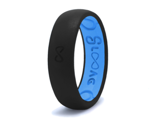 Narrow Silicone Breathable Ring- Midnight Black