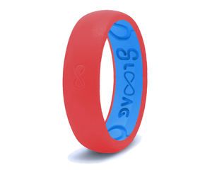 Narrow Silicone Breathable Ring- Raspberry Red