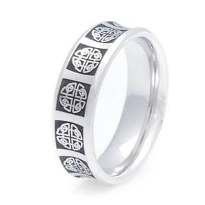 Men's Cobalt Chrome Concave Celtic Ring