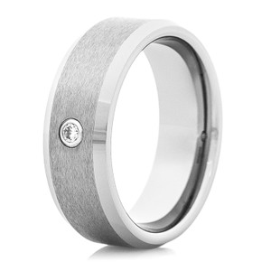 Men's Tungsten Carbide Wedding Band with Center Stone