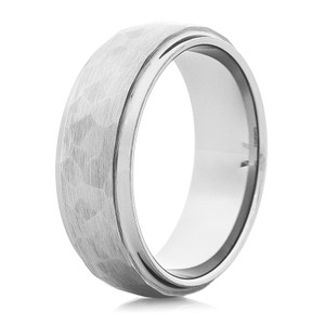 Men's Dome Profile Tungsten Ring with Hammered Band