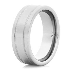 Men's Dome Profile Tungsten Ring with Dual Grooves