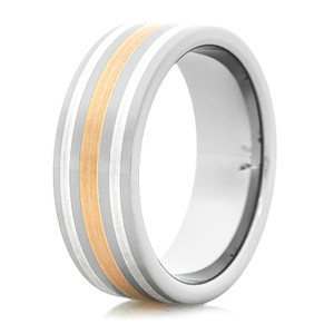 Men's Tungsten Ring with 14K Rose Gold and Sterling Silver Inlays