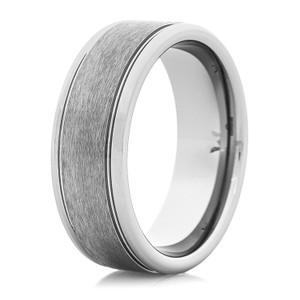 Men's Grooved Satin Tungsten Wedding Ring