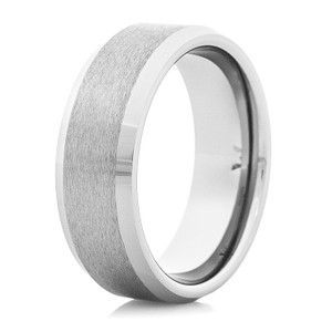 Men's Satin Finish Tungsten Ring with Raised Center