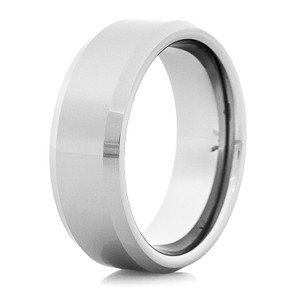 Men's Polished Tungsten Ring with Raised Center
