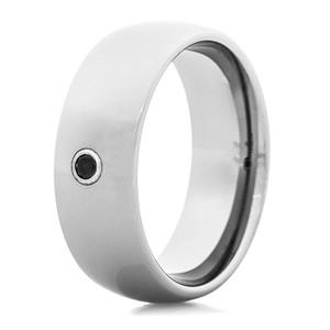 Men's 8mm Tungsten Ring with Black Zirconium Center Stone