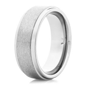 Men's Satin Finish Tungsten Ring with Flat Edge