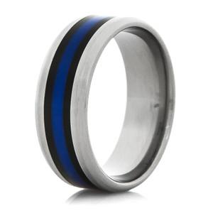 Titanium Thin Blue Ring with Beveled Edge