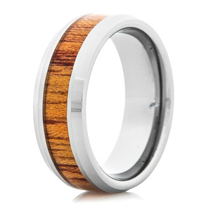 Men's Bloodwood Tungsten Ring with Beveled Edge