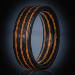 Carbon Fiber Fire Glow Ring- Aurora