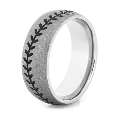 Men's Gunmetal Titanium Baseball Stitch Ring with Black Stitching