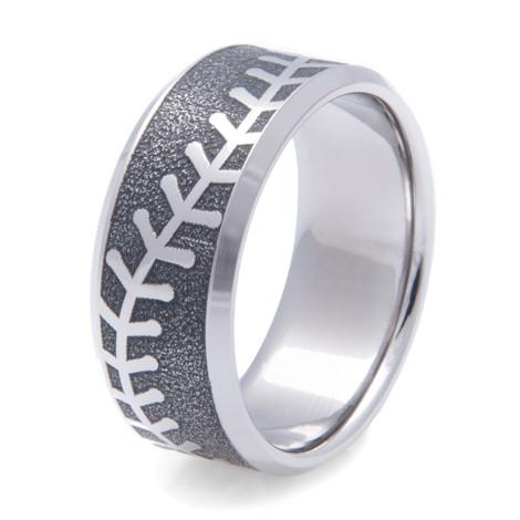 Men's Laser Engraved Titanium Baseball Ring