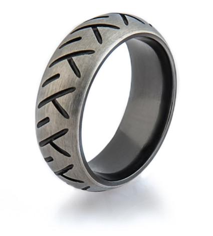 Men's Black-Etched Zirconium Motorcycle Ring
