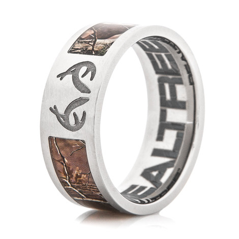 Men's Titanium Realtree Camo Ring with Engraved Antlers