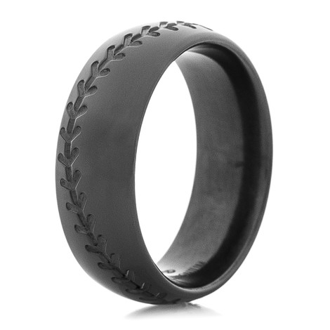 Black Zirconium Baseball Ring with Engraved Stitching