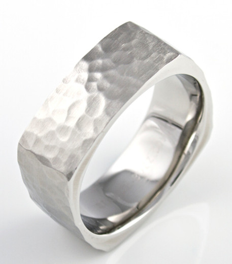 Square Cobalt Hammered Ring