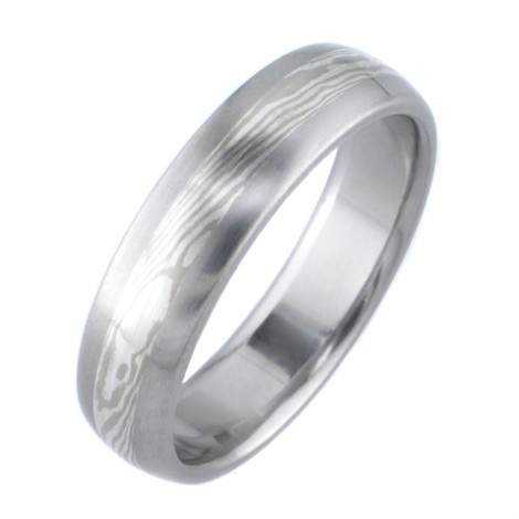 White Gold and Silver Twist Mokume Wedding Ring
