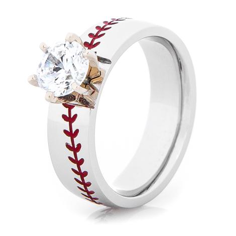 Women's Cobalt Diamond Baseball Ring