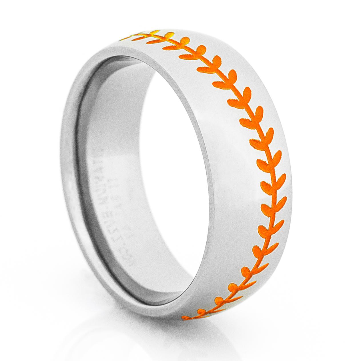 titanium baseball wedding ring with color stitching