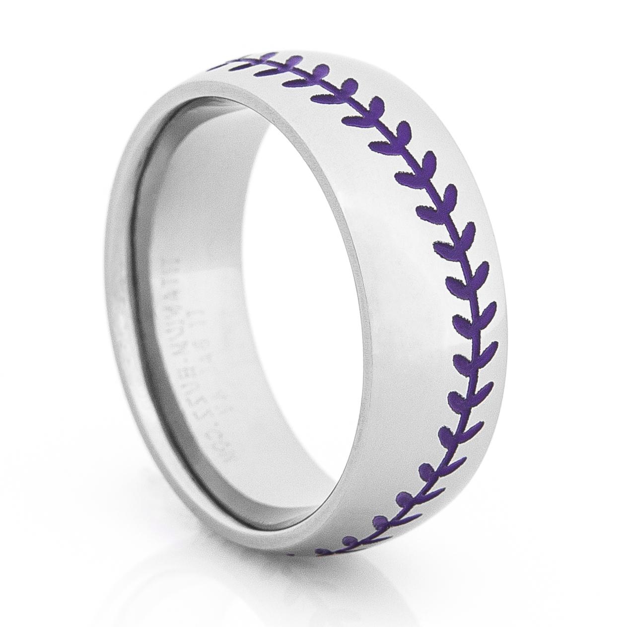 Titanium Baseball Wedding Ring With Color Stitching Titanium Buzz