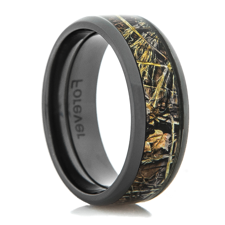 Men's Black Zirconium Realtree MAX-4 Camo Ring