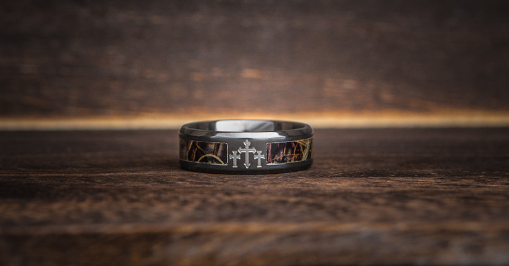 Men's Black Camo Cross Ring