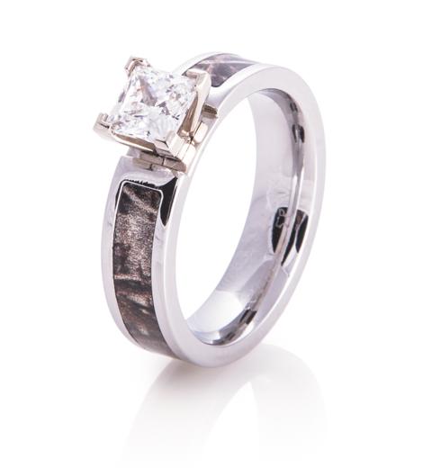 Women's Cobalt Chrome Princess Cut Diamond Camo Ring
