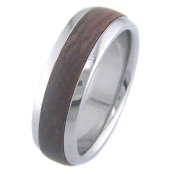 Men's Dome Profile Titanium and Cocobolo Ring