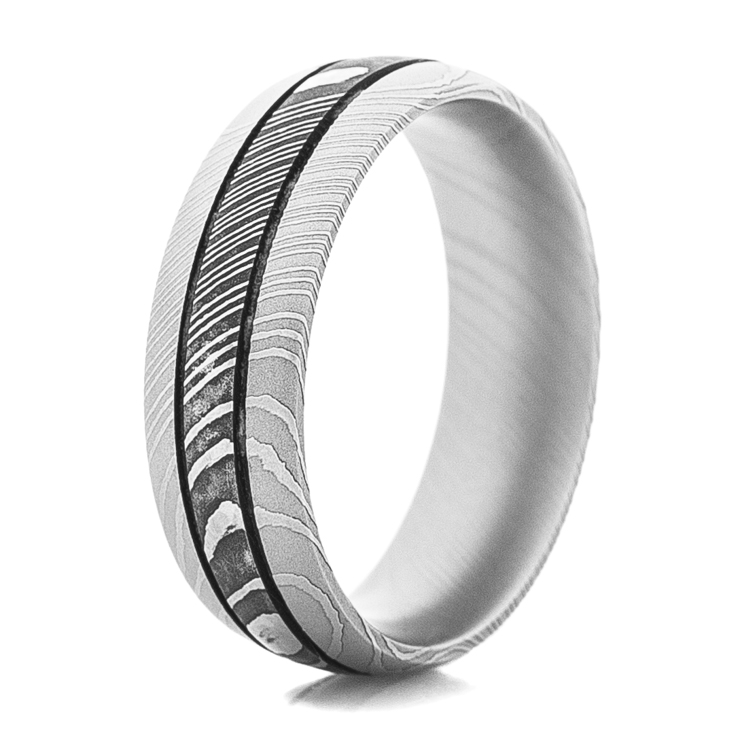 Men's Dual Finish Damascus Steel Ring with Twin Grooves