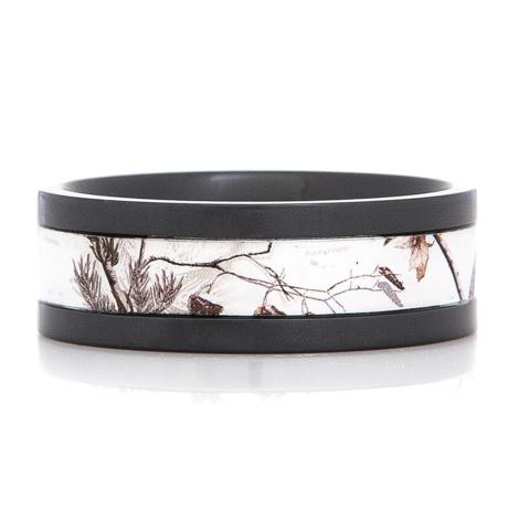 Men's Black Zirconium Realtree Snow Camo Ring