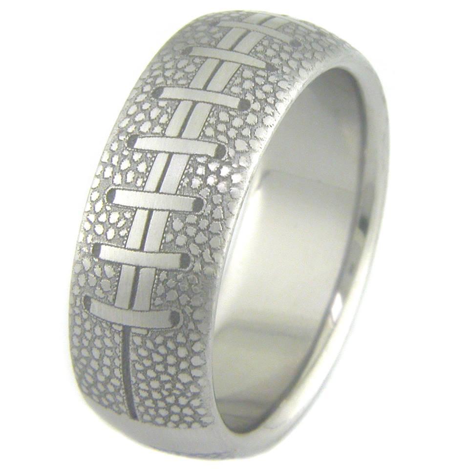 Men's Laser Engraved Titanium College Football Wedding Ring
