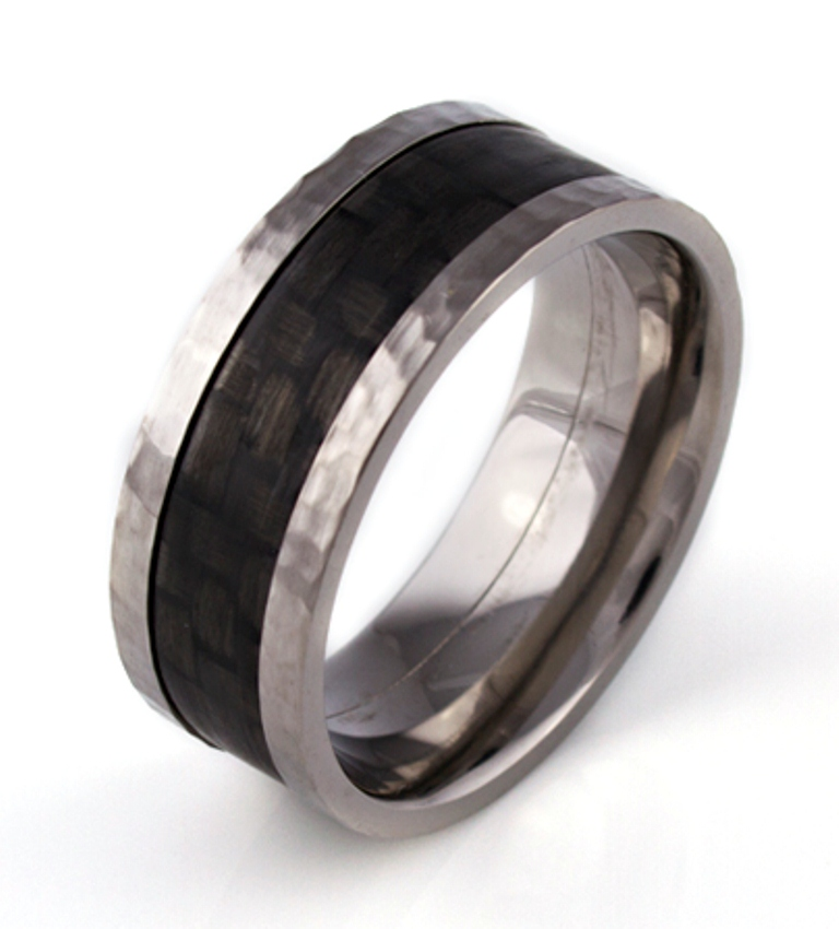 Hammered Titanium & Carbon Fiber Ring