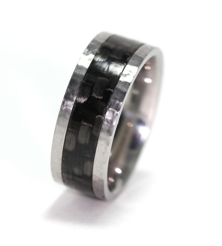 Hammered Titanium & Carbon Fiber Ring