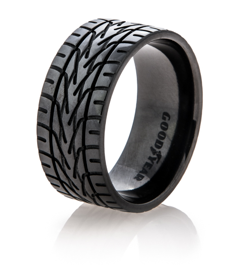 Men's Black Goodyear NASCAR Tire Tread Ring