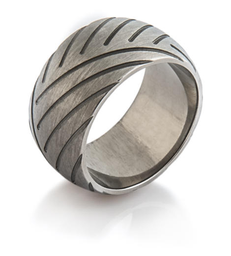 Men's Wide Titanium Super Cycle 1 Motorcycle Ring