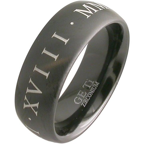 Black Zirconium Roman Numeral Ring