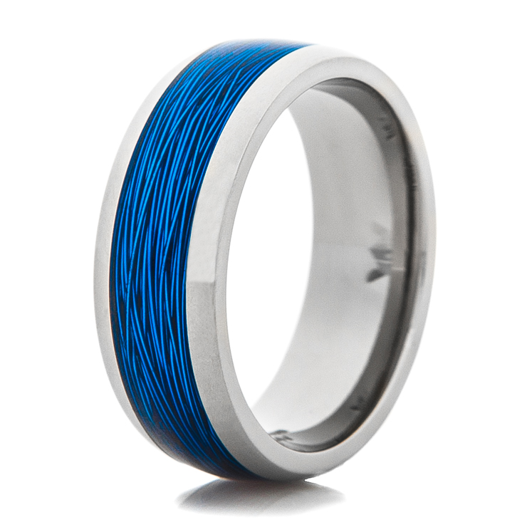 Titanium ring with blue fishing line inlay titanium buzz for Mens fishing wedding bands