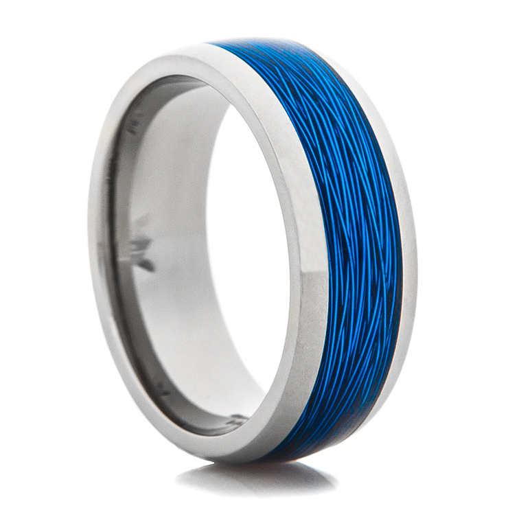 Titanium ring with blue fishing line inlay titanium buzz for Fishing wedding band