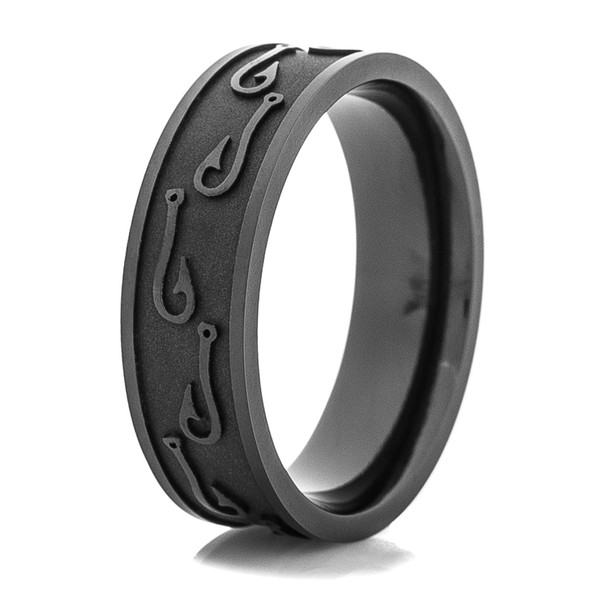 Men 39 s blacked out fish hook wedding ring titanium buzz for Fishing wedding band