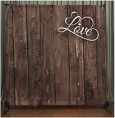 8x8 Printed Tension fabric backdrop (Dark Wood with Love)