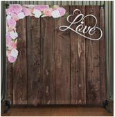 8x8 Printed Tension fabric backdrop (Dark Wood with Love & Flowers)