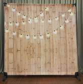 8x8 Printed Tension fabric backdrop (Light wood w/String Lights