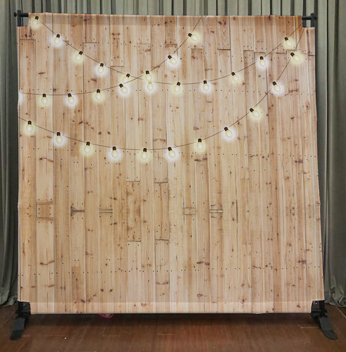 String Lights Backdrop : 8x8 Printed Tension fabric backdrop (Light wood w/String Lights - PB Backdrops