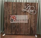 8X8 Single Sided Custom backdrop (Dark Wood with Love)
