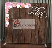 8X8 Single Sided Custom backdrop (Dark Wood with Love & Flowers)