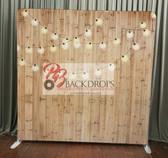 8X8 Single Sided Custom backdrop (Light Wood w/String Lights)