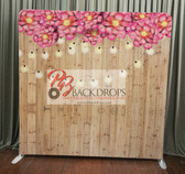 8X8 Single Sided Custom backdrop (Light Wood w/String Lights & Flowers))
