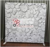 8X8 Single Sided Custom backdrop (White Flowers)