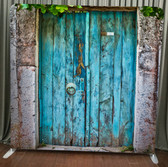 8X8 Single Sided Custom backdrop (Rustic Blue Doors)